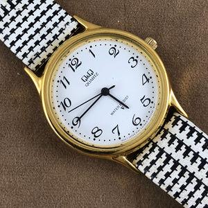 Q&Q Gold Tone Black And White Watch Stocking Stuff